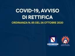 ORDINANZA N.85 DEL 26 OTTOBRE 2020 – AVVISO DI RETTIFICA