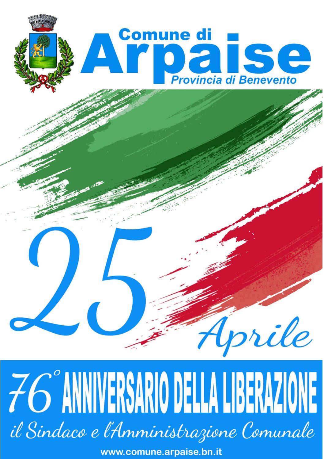25 APRILE 2021 76° ANNIVERSARIO DELLA LIBERAZIONE