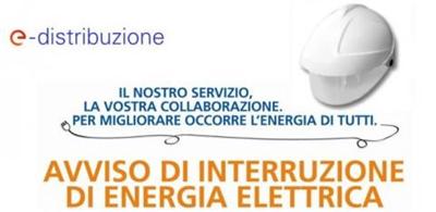 AVVISO DI INTERRUZIONE  DI ENERGIA ELETTRICA GIORNO 29 APRILE 2021