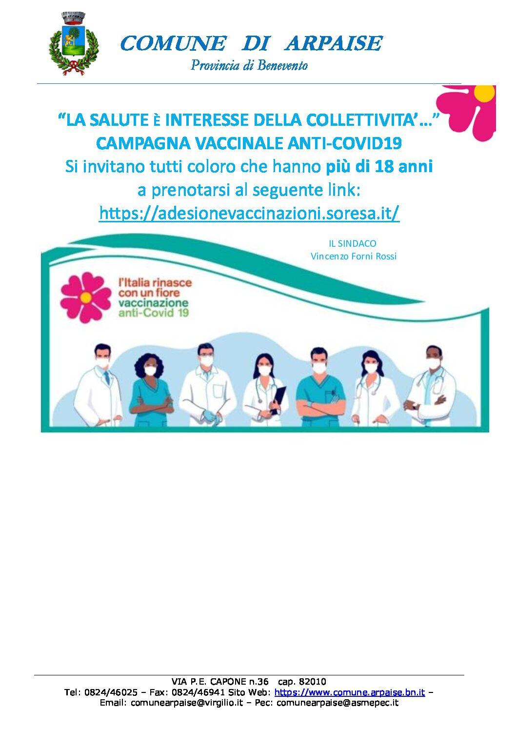 CAMPAGNA VACCINALE ANTI-COVID-19 FASCIA D'ETA' PIU' DI 18 ANNI