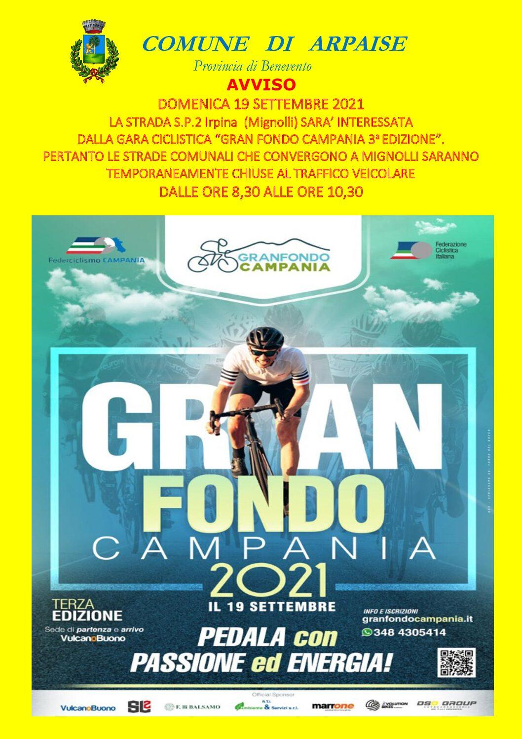 """GARA CICLISTICA"""" GRAN FONDO CAMPANIA 3° EDIZIONE""""- 19 SETTEMBRE 2021"""